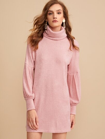 Solid High Neck Bishop Sleeve Sweater Dress