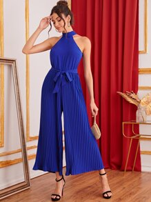 Pleated Wide Leg Belted Halter Jumpsuit
