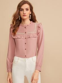 Embroidered Tape Panel Ruffle Trim Button Front Blouse