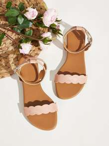 Scalloped Trim Buckle Strap Flat Sandals