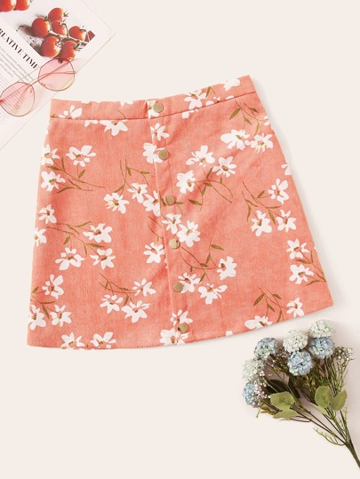 Button Fly Floral Print Skirt