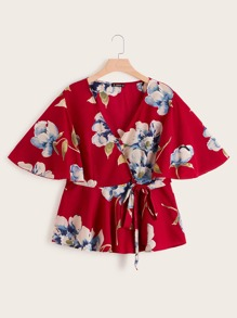 Plus Floral Print Flutter Sleeve Wrap Belted Peplum Top