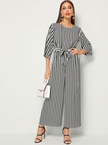 Tie Waist Wide Leg Stripe Jumpsuit