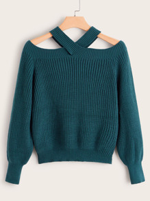 Open Shoulder Solid Halter Sweater