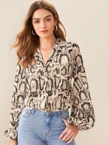 Snakeskin Print Bishop Sleeve Blouse