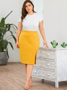 Plus Split Side Pencil Skirt