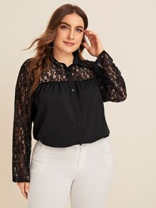 Plus Lace Contrast Blouse