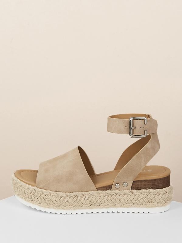 Platform Ankle Wedge Espadrille Sandals Strap ikZOPTwuX