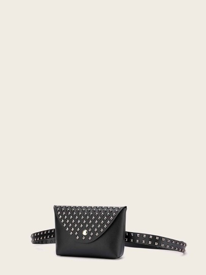Studded Decor Flap Fanny Pack