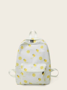 Fruit Print Pocket Front Backpack