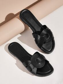 Snakeskin Open Toe Flat Sliders