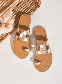 Metallic Toe Ring Flat Sliders