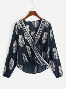 Plants Print Fringe High Low Blouse