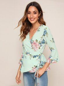 Floral Print Knot Side Wrap Blouse