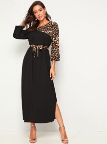 Leopard Print Waist Tie Dress