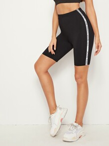 Letter Print Taped Side Cycling Shorts
