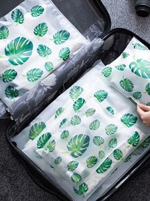 Leaf Print Travel Sealing Storage Bag 5pcs