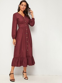V-neck Button Front Ruffle Hem Solid Dress