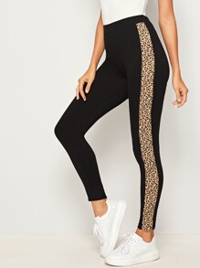 Leopard Panel Side Skinny Leggings