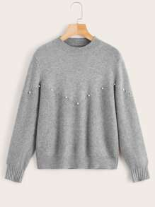 Pearls Beaded Solid Pullover Sweater
