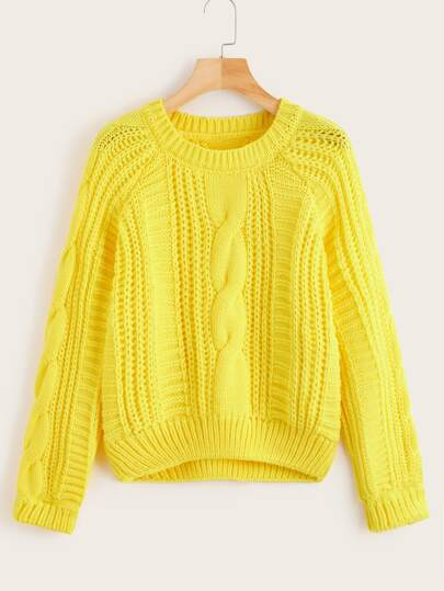 Solid Cable-knit Raglan Sleeve Sweater