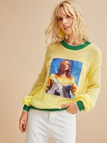 Contrast Binding Figure Print Pointelle Knit Sweater