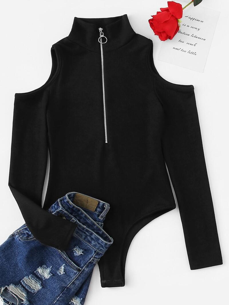 Plus Open Shoulder Half Zip Solid Bodysuit by Romwe