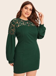Plus Contrast Lace Bishop Sleeve Sheath Dress
