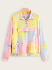 Plus Kangaroo Pocket Quarter Zip Tie Dye Sweatshirt