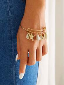 Starfish & Shell Charm Bangle Bracelet 1pc