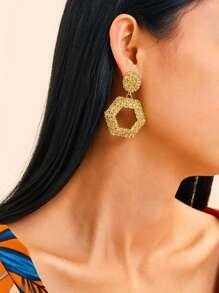 Textured Open Hexagon Drop Earrings 1pair