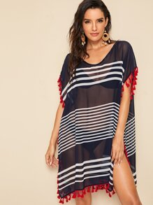 Striped Tassel Trim Side Split Cover Up