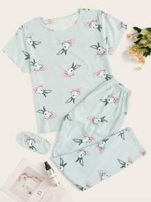Rabbit Print Striped PJ Set With Eye Mask