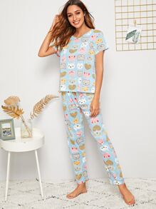Cartoon Print PJ Set With Eye Mask