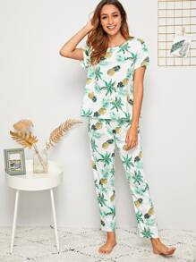 Pineapple & Tropical Print PJ Set With Eye Mask