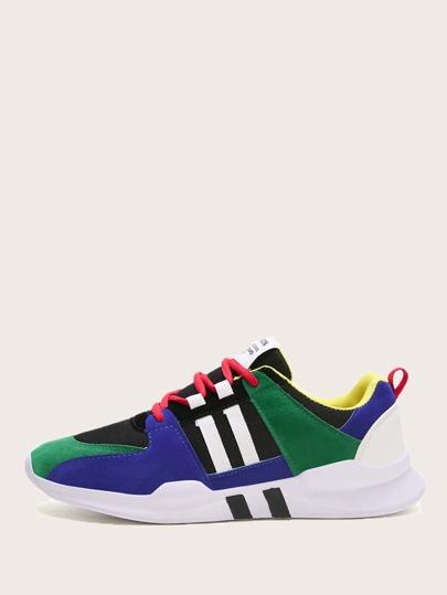 c29571aa Zapatillas de hombres con cordón delantero de color block