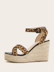 Leopard Cross Strap Espadrille Wedges