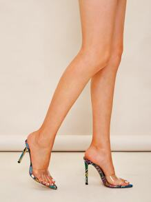 Snakeskin Sole Stiletto Heeled Mules