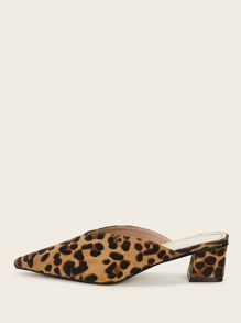Point Toe Leopard Print Block Heeled Mules
