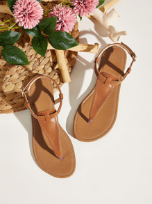 Solid Toe Post Ankle Strap Sandals