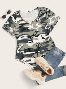 Plus Camo Print Short Sleeve Bodysuit
