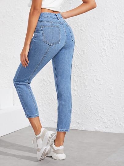 Topstitching Button Front Jeans