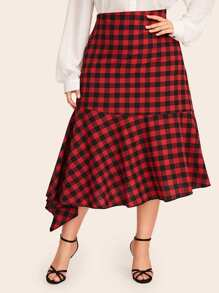 Plus Buffalo Plaid Asymmetrical Hem Skirt