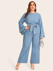 Plus Belted Layered Sleeve Top & Pants Set