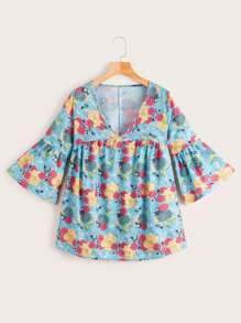 Ditsy Floral Flounce Sleeve Smock Blouse