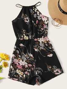 All Over Floral Print Tie Back Romper