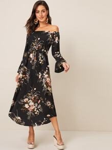 Floral Print Off The Shoulder Belted Dress