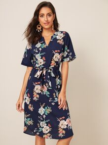 Floral Print Notched Collar Belted Dress