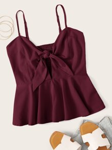 Knot Front Ruffle Hem Shirred Cami Top