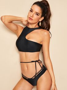 Racerback Top With Tie Waist Bikini Set